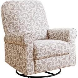 Perth Fabric Swivel Glider Recliner Chair - Gray Floral - Abbyson Living
