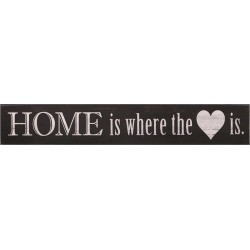 """6""""x36"""" Home Is Where the Heart Is Wood Wall Art Black - Patton Wall Decor"""