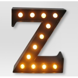 """Metal Marquee Letter Small """"Z"""" LED Black - Threshold"""
