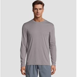 Hanes Men's Long Sleeve CoolDRI Performance T-Shirt - Gray 2XL, Men's found on Bargain Bro India from target for $7.59