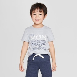 Toddler Boys' Short Sleeve My Mom Gives The Most Amazing High Fives T-Shirt - Cat & Jack Platinum 5T, Gray