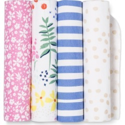 Flannel Baby Blankets Wildflower 4pk - Cloud Island Pink/Blue, Pink White found on Bargain Bro India from target for $9.99