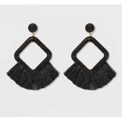 SUGARFIX by BaubleBar Fringe Hoop Earrings - Black, Women's