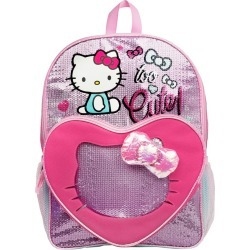 Hello Kitty with Heart See Through Pocket 16'' Backpack, Multi-Colored