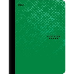 Five Star College Ruled Composition Notebook Green
