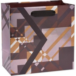 Geo Plaid Medium Father's Day Gift Bag - Papyrus, Multi-Colored