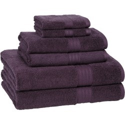 6pc Signature Solid Bath Towel Set Plum - Cassadecor, Purple