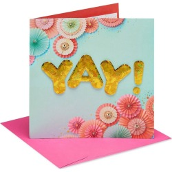 Yay Birthday Greeting Card with Gem Attachments and Foil, Gold