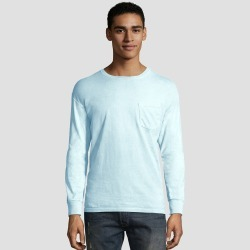 Hanes Men's Big & Tall Long Sleeve 1901 Garment Dyed Pocket T-Shirt - Blue 3XL found on Bargain Bro Philippines from target for $12.00