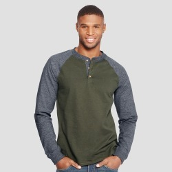 Hanes Men's Long Sleeve Beefy Henley Shirt - Green L, Size: Large found on Bargain Bro Philippines from target for $9.99