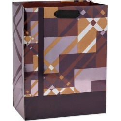 Geo Plaid Large Father's Day Gift Bag - Papyrus, Multi-Colored