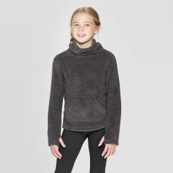 Girls' Fleece Funnel Neck Pullover - C9 Champion Gray M, Girl's, Size: Medium found on Bargain Bro India from target for $18.00