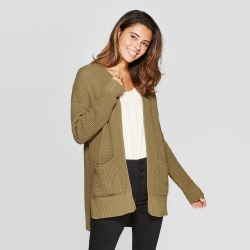Women's Long Sleeve Open Layering Sweater with Side Slits - Universal Thread Moss XS, Green found on Bargain Bro Philippines from target for $24.99