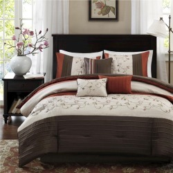 Monroe 7 Piece Comforter Set (Polyester w/ Embroidery- Spice (King), Orange found on Bargain Bro India from target for $139.99