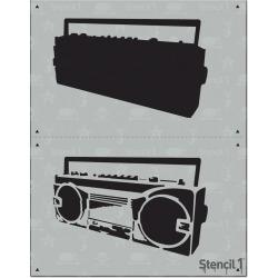 """Stencil1 Boom Box - Layered Stencil 8.5"""" x 11"""", White"""