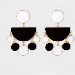 SUGARFIX by BaubleBar Enamel Drop Earrings - Black/White, Women's