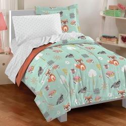 Dream Factory Woodland Friends Mini Bed in a Bag - Mint (Twin), Blue