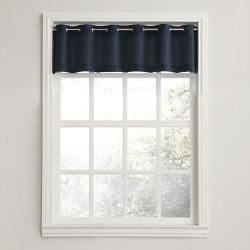 Montego Casual Textured Grommet Kitchen Curtain Valance Navy (56