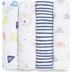 Aden by Aden + Anais Swaddle Wraps - Leader of the Pack White 4pk, Lion found on Bargain Bro India from target for $47.49