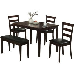 Dining Set - 5 Piece - Bench and 3 Chairs - Cappuccino - EveryRoom, Beige