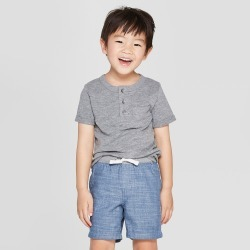 Toddler Boys' Short Sleeve Pocket Henley Shirt - Cat & Jack Heather Gray 5T found on Bargain Bro India from target for $6.00