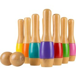"Hey! Play! Tall 9.5"" Wooden Lawn Bowling Game"