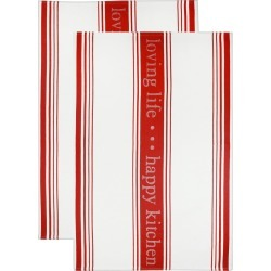 Jacquard Towel Loving Lifehappy Kitchen Pepper Red - Mu Kitchen