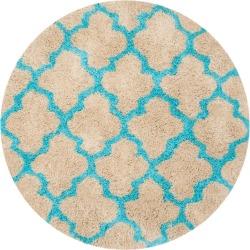 Leila Printed Shag Rug - Cream/Blue (5'X5') - Safavieh, Size: 5' ROUND, Ivory/Blue