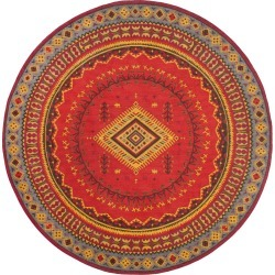 Red/Slate Tribal Design Loomed Round Area Rug 6' - Safavieh, Size: 6' ROUND, Red/Grey