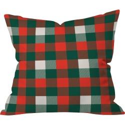 "16""x16"" Plaid Zoe Wodarz Christmas Plaid Throw Pillow Red - Deny Designs, Red Multicolored"