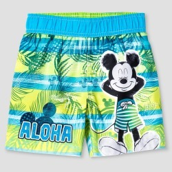 Toddler Boys' Mickey Mouse Aloha Swim Trunk - Green & Blue 4T, Toddler Boy's