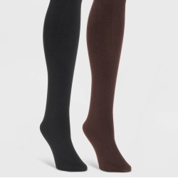 MUK LUKS Women's Fleece Lined 2pk Tights - Black/Brown S, Women's, Size: Small found on Bargain Bro Philippines from target for $30.00