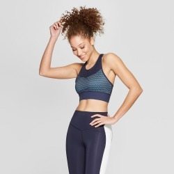 Women's High Neck Medium Support Sports Bra - C9 Champion Xavier Navy/Active Blue S found on MODAPINS from target for USD $22.99