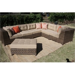 Dawson 7pc All-Weather Wicker Patio Sectional Seating Set - Tan - AE Outdoor