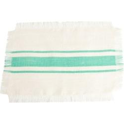 Striped Design Jute Placemats Sea Green (Set of 4), Blue Green