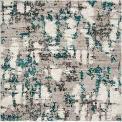 Gray/Blue Splatter Loomed Square Area Rug 6'7