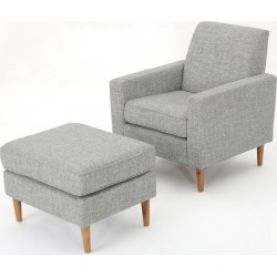 Sawyer Mid Century Modern Club Chair and Ottoman Set Tweed Light Gray - Christopher Knight Home, Light Grey Tweed found on Bargain Bro India from target for $304.29