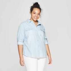 ab4d720ae2379b Women s Plus Size Long Sleeve Denim Shirt - Universal Thread Light Wash X