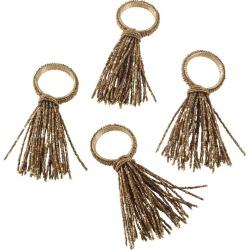 Gold Beaded Spray Design Wedding Special Napkin Ring Set of 4 -Saro Lifestyle