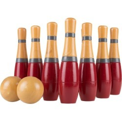 "Hey! Play! Tall 8"" Wooden Lawn Bowling Game - Red/Gray"