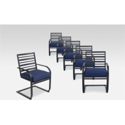 Ft. Walton 6pk Steel Patio Motion Dining Chairs - Navy (Blue) - Project 62
