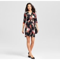 Maternity Floral Print V-Neck Nursing Dress - Expected by Lilac Black M, Women's, Black Pink