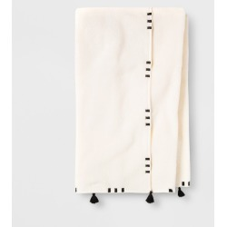 Embroidered Hem Bath Towel Black/Cream - Opalhouse , Beige found on Bargain Bro India from target for $12.99