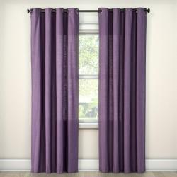 "Natural Solid Curtain Panel Plum (54""x108"") - Threshold , Purple"