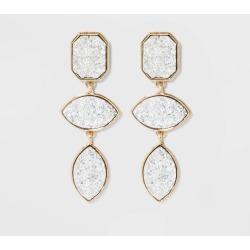 SUGARFIX by BaubleBar Tiered Druzy Drop Earrings - Silver, Women's