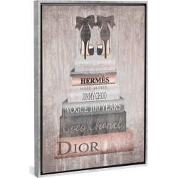 """40"""" x 26"""" Metallic Rose Gold Book stack by Amanda Greenwood Framed Canvas Print Silver - iCanvas"""