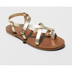 Women's Lavinia Toe Wrap Wide Width Thong Sandal - Universal Thread Gold 12W, Size: 12 Wide found on Bargain Bro Philippines from target for $19.99