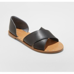 Women's Lois Wide Width Crossband Sandals - Universal Thread Black 7.5W, Size: 7.5 Wide found on Bargain Bro Philippines from target for $24.99