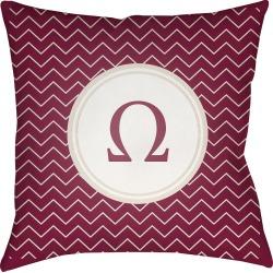 "Maroon (Red) Omega Throw Pillow 18""x18"" - Surya"