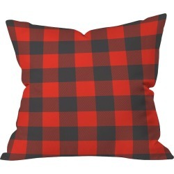 """20""""x20"""" Plaid Zoe Wodarz Winter Cabin Plaid Throw Pillow Red - Deny Designs, Red Multicolored"""